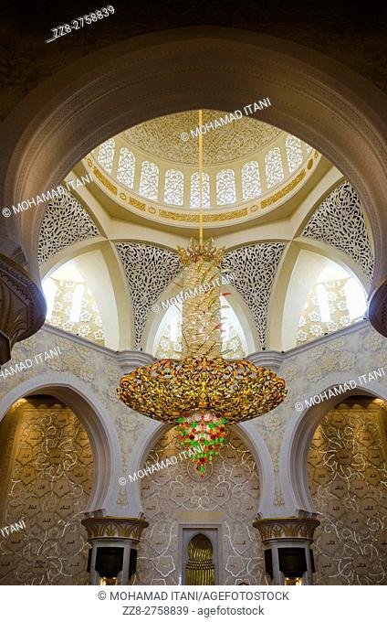 Chandelier inside Sheikh Zayed Grand Mosque building exteriors Abu Dhabi United Arab Emirates