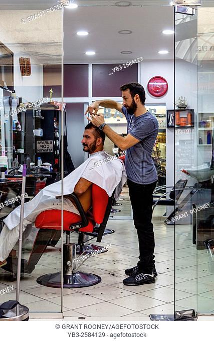 Turkish Hairdresser and Customer, The Grand Bazaar, Marmaris, Mugla Province, Turkey