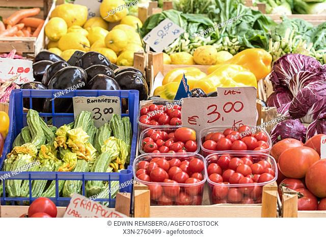 Rome, Italy- Grape tomatoes and other fresh produce for sale in Campo de' Fiori, the largest and oldest outdoor market in Rome