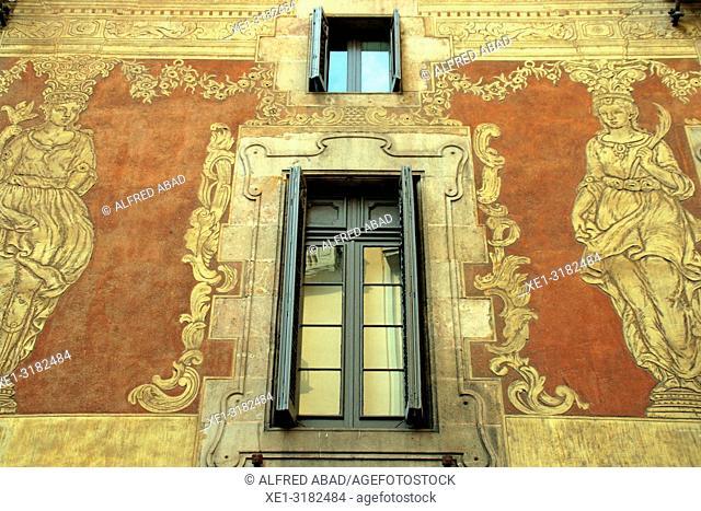 windows and paintings sgrafiato on the wall, Casa del Gremi dels Velers, 1758, architect Joan Garrido, Barcelona, Catalonia, Spain