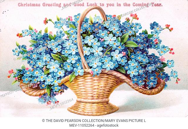 Blue flowers in a basket on a Christmas and New Year postcard