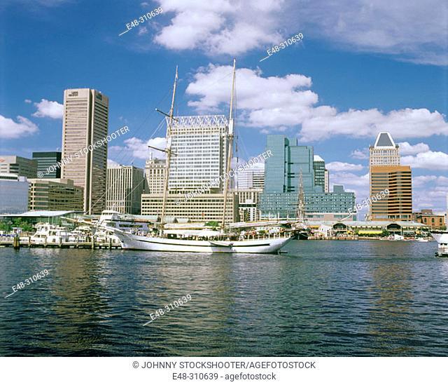 Inner harbor, downtown Baltimore. Maryland, USA
