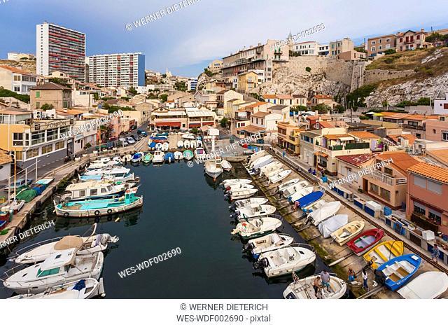 France, Provence-Alpes-Cote d'Azur, Bouches-du-Rhone, Marseille, Vallon des Auffes, Fishing Harbour