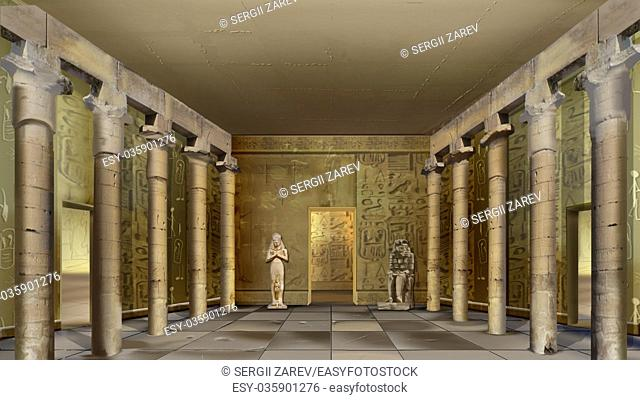 Digital painting of the hall of Ancient Egyptian Temple with columns and mural. Long shot