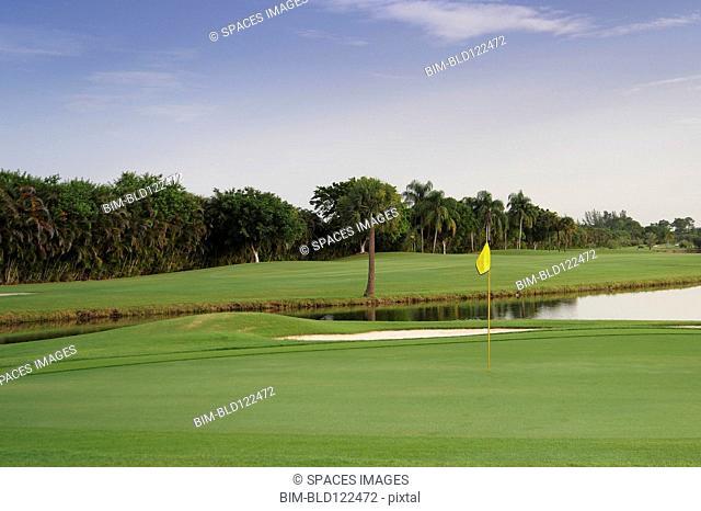 Still pond on golf course