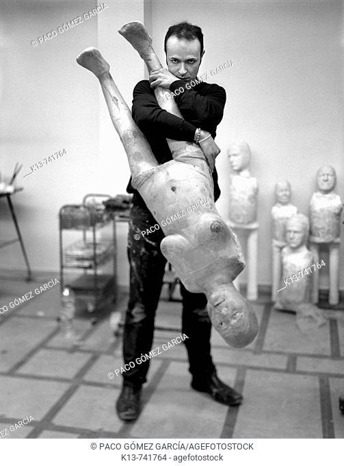 Spanish artist Enrique Marty in his atelier, Salamanca, Spain