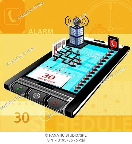 Use of a mobile phone as personal task manager, illustration
