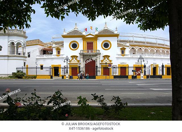 the grand entrance to the Plaza de toros, or the Bull Ring  Seville, Andalusia, Spain