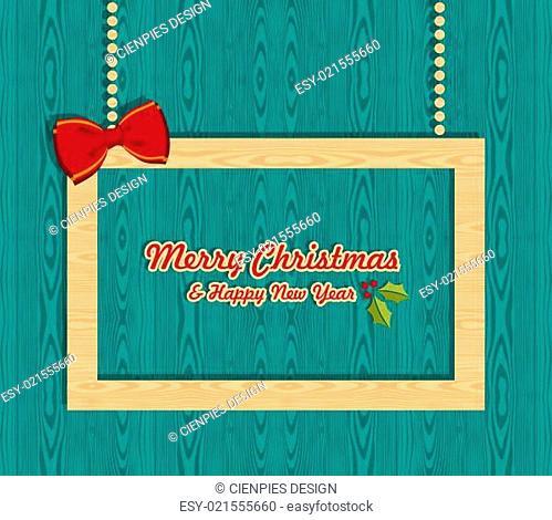 Retro wooden Christmas banner