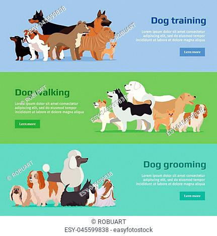 Dog training, dog walking, dog grooming banners set. Long haired dog breeds of different size. Sportive and athletics ones. Dog pet shop banner poster
