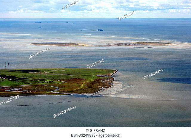 Neuwerk island with the islands Scharnhoern und Nigehoern, Hamburgisches Wattenmeer National Park