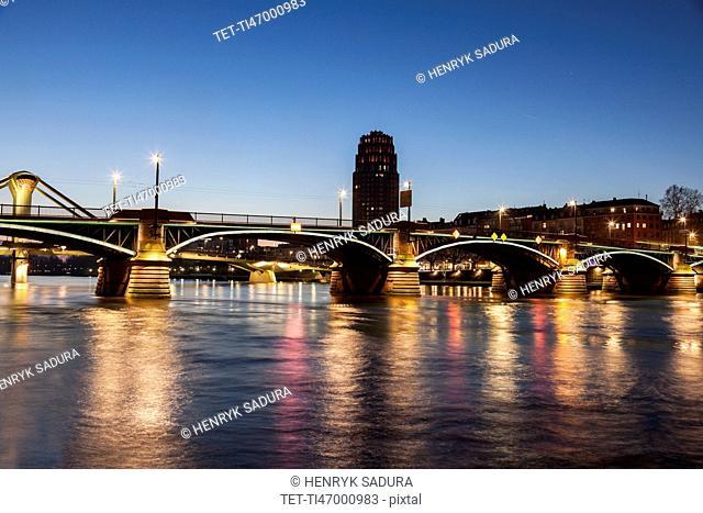 Ignatz-Bubis Bridge illuminated at dusk