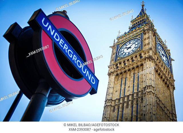 Big Ben and Underground symbol. London, England, United kingdom, Europe