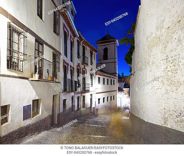 Albaicin of Granada arabic old district at sunset of Andalusia muslim Spain