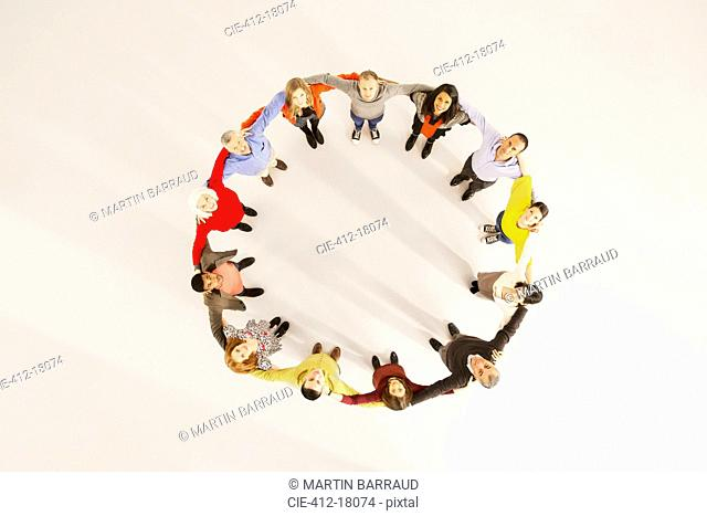 People connected in circle