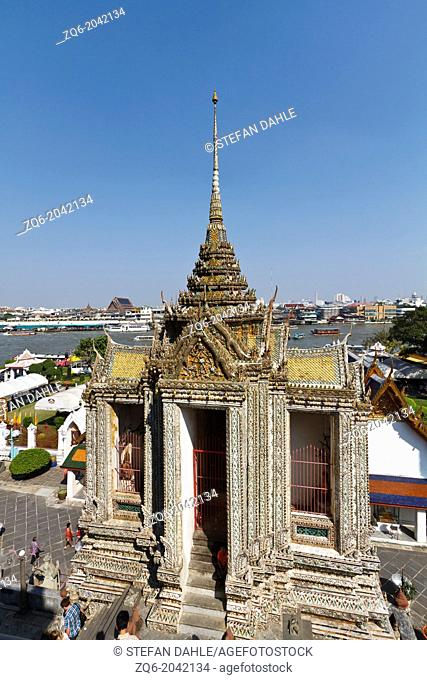 View onto a Side Building of the Temple Wat Arun in Bangkok, Thailand