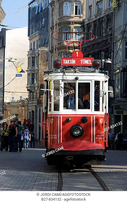 Tramway in Istiklal Caddesi 'Independence Street', Istanbul's main shopping street in Beyoglu quarter Turkey