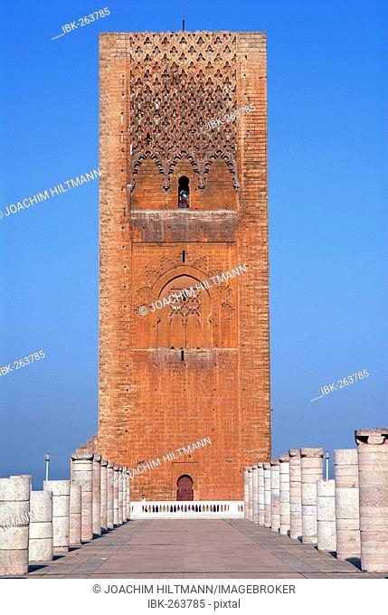 The unfinished Hassan Tower (Tour Hassan) in Rabat, Morocco, Africa