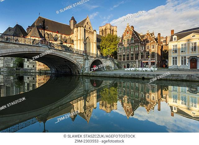 Early morning at St Michael's Bridge in Ghent, Flanders, Belgium