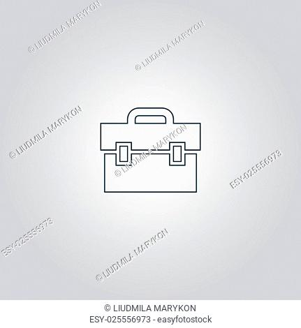 briefcase. Flat web icon or sign isolated on grey background. Collection modern trend concept design style vector illustration symbol