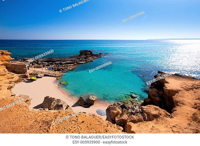 Formentera Es Calo des Mort beach turquoise Mediterranean at Mitjorn of balearic islands