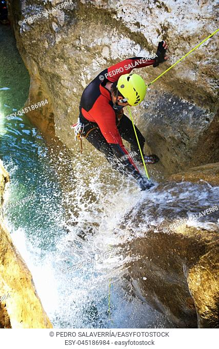 Canyoning in Formiga Canyon, Guara Mountains, Huesca Province, Aragon, Spain