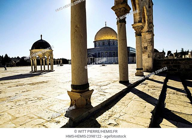 Israel, Jerusalem, holy city, listed as World Heritage by UNESCO, East of Jerusalem, Palestinian sector, Temple Mount, the Dom of the Rock