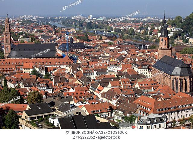 Germany, Baden-Württemberg, Heidelberg, general aerial view, panorama