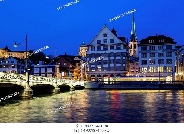 Switzerland, Zurich, Limmat River at night