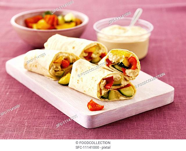 Wraps with hummus and peppers