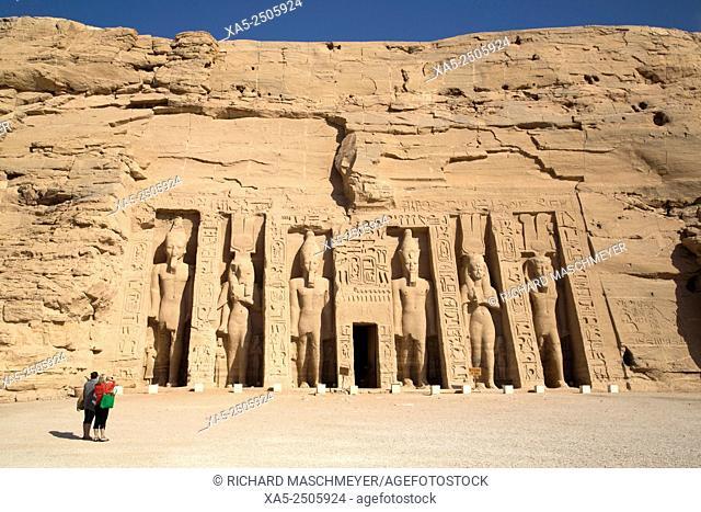 Tourist Enjoying the Site, Hathor Temple of Queen Nefertari, Abu Simbel, Egypt
