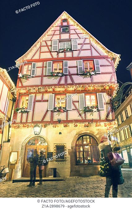 Typical half-timbering house with Christmas decoration at the city center. Colmar. Haut-Rhin. Alsace. France