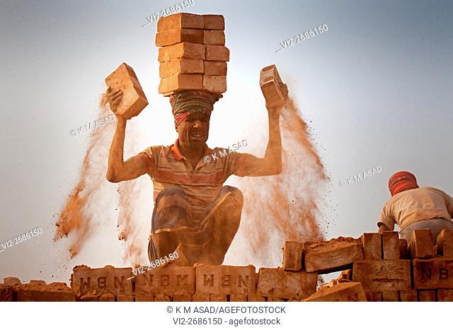 A labourer picks up bricks in a brickfield covered with thick dust in Dhaka Bangladesh, December 10, 2015. In this brickfield burning coal causes tremendous...