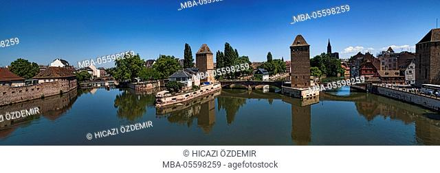 Panoramic view on three towers of the covered bridges, Strasbourg, France
