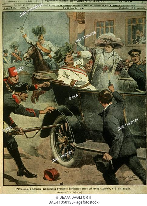 History, 20th century - Sarajevo, assassination of Archduke Franz Ferdinand of Austria, heir to the Austro-Hungarian throne