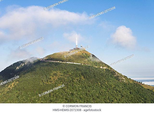 France, Puy de Dome, Orcines, Chaine des Puys, Regional Natural Park of the Auvergne Volcanoes, Panramique des Domes train on the Puy de Dome (aerial view)