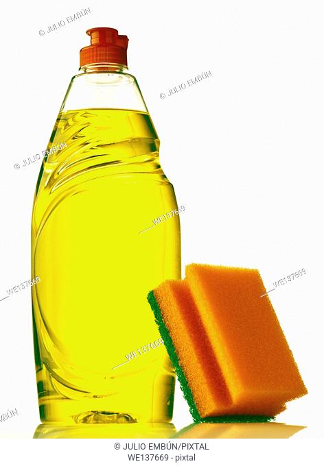 dishwasher bottle with sponge isolated on white