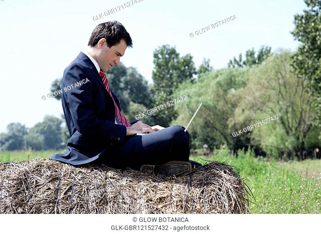 Businessman sitting on a hay bale and working on a laptop