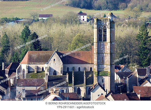 French village Noyers with church, Yonne, Bourgogne, France