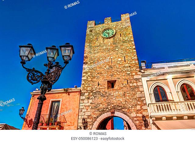 City gate in Taormina, Sicily, Italy, Europe