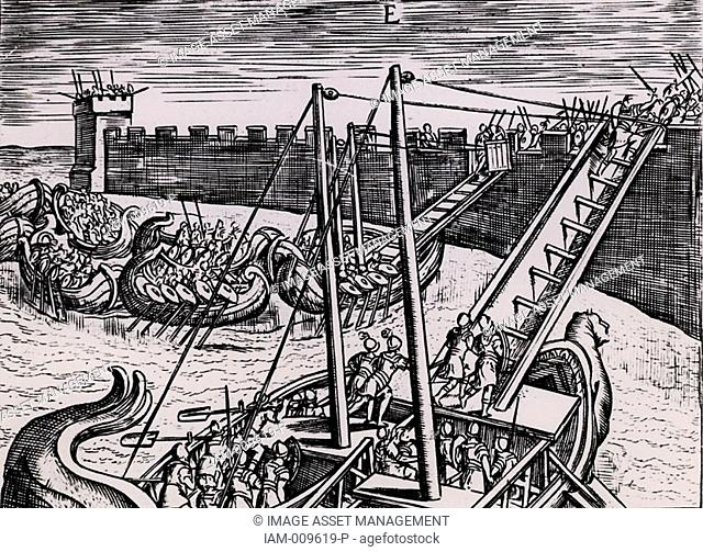 Roman soldiers scaling the walls of a fortress using ladders mounted on boats  From 'Poliorceticon sive de machinis tormentis telis' by Justus Lipsius Joost...