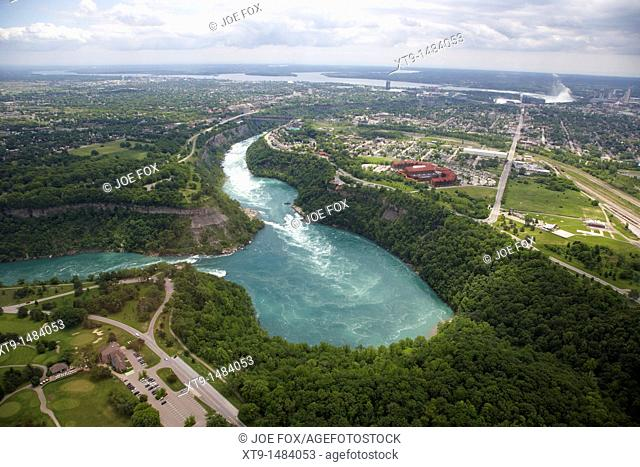 aerial view of niagara whirlpool and area from helicopter flight over niagara falls ontario canada
