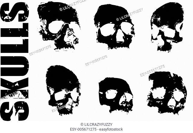 grungy human skulls set