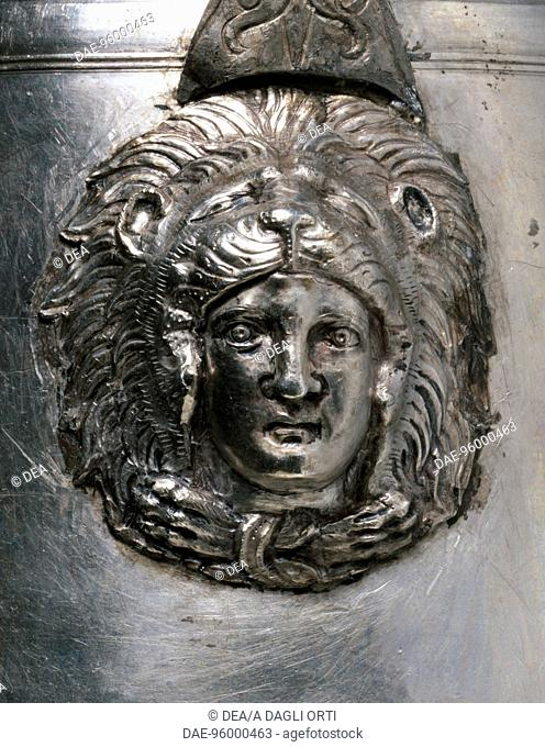 Silver alabastron with the heads of Hercules-Alexander, 336 BC, from the thalamos of the tomb of Philip II in Vergina, Greece. Detail showing the head