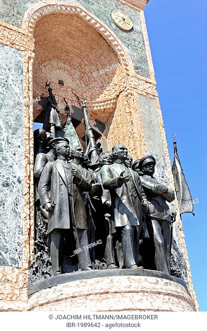 Mustafa Kemal Atatuerk and his fellow soldiers, independence monument by Pietro Canonica, Taksim Meydani square, Taksim Square, Beyoglu district, Istanbul
