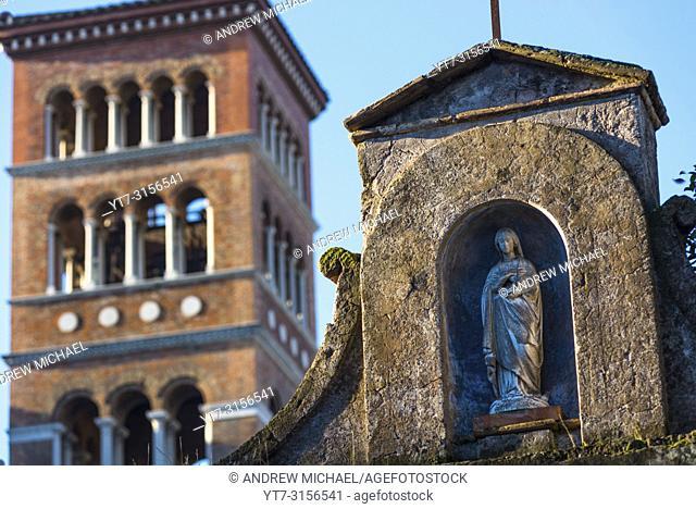 Church of Sant'Anselmo all'Aventino or St Anselm on the Aventine (Annexed to Benedictine College). Aventine Hill, Rome, Lazio, Italy