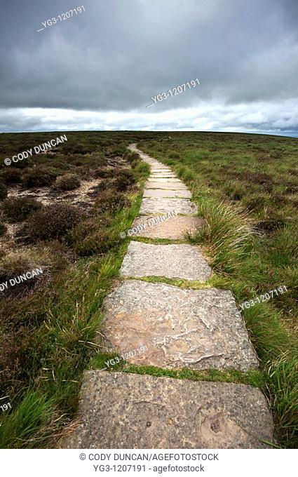 Offa's Dyke path along mountain ridge near Hay Bluff, Black Mountains, Wales
