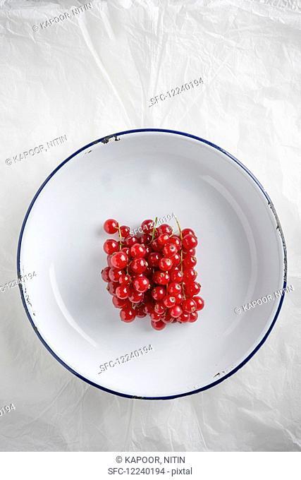 Redcurrants in an enamel bowl