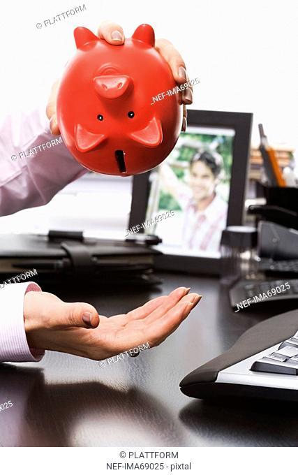 Businesswoman and a piggy bank