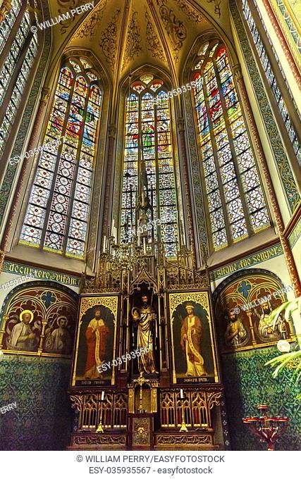 Basilica Christ Stained Glass Chapel De Krijtberg Church Amsterdam Holland Netherlands. Roman Catholic Church built in 1883
